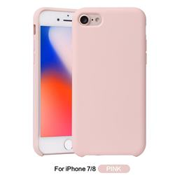 Howmak Slim Liquid Silicone Rubber Shockproof Phone Case Cover for iPhone 8 / 7 (4.7 inch) - Pink
