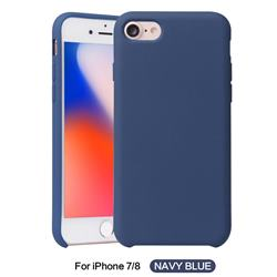 Howmak Slim Liquid Silicone Rubber Shockproof Phone Case Cover for iPhone 8 / 7 (4.7 inch) - Midnight Blue