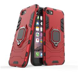 Black Panther Armor Metal Ring Grip Shockproof Dual Layer Rugged Hard Cover for iPhone 8 / 7 (4.7 inch) - Red