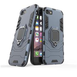 Black Panther Armor Metal Ring Grip Shockproof Dual Layer Rugged Hard Cover for iPhone 8 / 7 (4.7 inch) - Blue