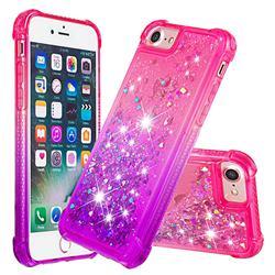 Rainbow Gradient Liquid Glitter Quicksand Sequins Phone Case for iPhone 8 / 7 (4.7 inch) - Pink Purple