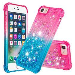 Rainbow Gradient Liquid Glitter Quicksand Sequins Phone Case for iPhone 8 / 7 (4.7 inch) - Pink Blue