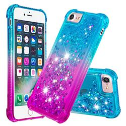 Rainbow Gradient Liquid Glitter Quicksand Sequins Phone Case for iPhone 8 / 7 (4.7 inch) - Blue Purple
