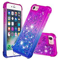 Rainbow Gradient Liquid Glitter Quicksand Sequins Phone Case for iPhone 8 / 7 (4.7 inch) - Purple Blue
