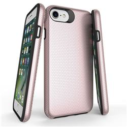 Triangle Texture Shockproof Hybrid Rugged Armor Defender Phone Case for iPhone 8 / 7 (4.7 inch) - Rose Gold