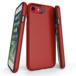 Triangle Texture Shockproof Hybrid Rugged Armor Defender Phone Case for iPhone 8 / 7 (4.7 inch) - Red