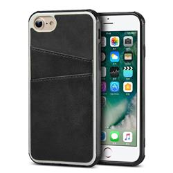 Simple Calf Card Slots Mobile Phone Back Cover for iPhone 8 / 7 (4.7 inch) - Black
