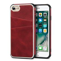 Simple Calf Card Slots Mobile Phone Back Cover for iPhone 8 / 7 (4.7 inch) - Red
