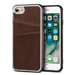 Simple Calf Card Slots Mobile Phone Back Cover for iPhone 8 / 7 (4.7 inch) - Coffee
