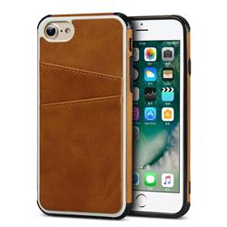 Simple Calf Card Slots Mobile Phone Back Cover for iPhone 8 / 7 (4.7 inch) - Yellow