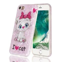 I Love Cat Shell Pattern Clear Bumper Glossy Rubber Silicone Phone Case for iPhone 8 / 7 (4.7 inch)