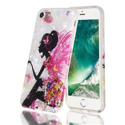 Flower Butterfly Girl Shell Pattern Clear Bumper Glossy Rubber Silicone Phone Case for iPhone 8 / 7 (4.7 inch)