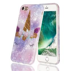 Unicorn Girl Shell Pattern Clear Bumper Glossy Rubber Silicone Phone Case for iPhone 8 / 7 (4.7 inch)