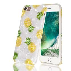 Yellow Pineapple Shell Pattern Clear Bumper Glossy Rubber Silicone Phone Case for iPhone 8 / 7 (4.7 inch)