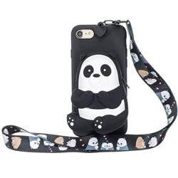 Cute Panda Neck Lanyard Zipper Wallet Silicone Case for iPhone 8 / 7 (4.7 inch)
