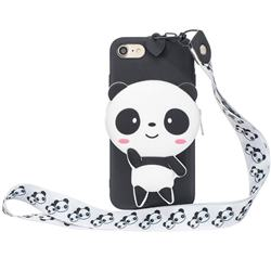 White Panda Neck Lanyard Zipper Wallet Silicone Case for iPhone 8 / 7 (4.7 inch)