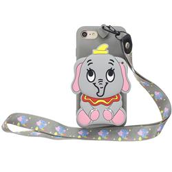 Gray Elephant Neck Lanyard Zipper Wallet Silicone Case for iPhone 8 / 7 (4.7 inch)