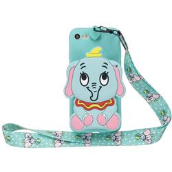 Blue Elephant Neck Lanyard Zipper Wallet Silicone Case for iPhone 8 / 7 (4.7 inch)