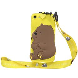 Yellow Bear Neck Lanyard Zipper Wallet Silicone Case for iPhone 8 / 7 (4.7 inch)