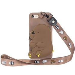 Brown Bear Neck Lanyard Zipper Wallet Silicone Case for iPhone 8 / 7 (4.7 inch)
