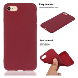 Soft Matte Silicone Phone Cover for iPhone 8 / 7 (4.7 inch) - Wine Red