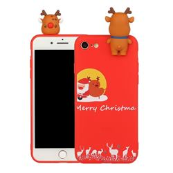 Moon Santa and Elk Christmas Xmax Soft 3D Doll Silicone Case for iPhone 8 / 7 (4.7 inch)