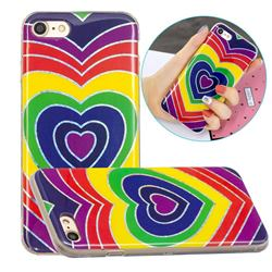 Rainbow Heart Painted Galvanized Electroplating Soft Phone Case Cover for iPhone 8 / 7 (4.7 inch)