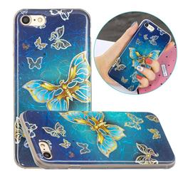 Golden Butterfly Painted Galvanized Electroplating Soft Phone Case Cover for iPhone 8 / 7 (4.7 inch)