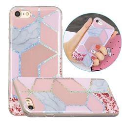 Pink Marble Painted Galvanized Electroplating Soft Phone Case Cover for iPhone 8 / 7 (4.7 inch)