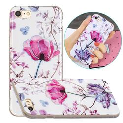 Magnolia Painted Galvanized Electroplating Soft Phone Case Cover for iPhone 8 / 7 (4.7 inch)
