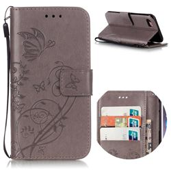 Embossing Butterfly Flower Leather Wallet Case for iPhone 8 / 7 8G 7G (4.7 inch) - Grey