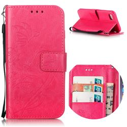 Embossing Butterfly Flower Leather Wallet Case for iPhone 8 / 7 8G 7G (4.7 inch) - Rose