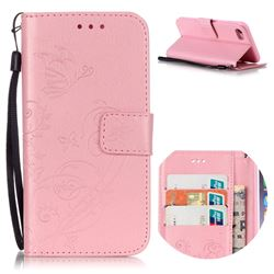 Embossing Butterfly Flower Leather Wallet Case for iPhone 8 / 7 8G 7G (4.7 inch) - Pink