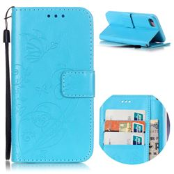 Embossing Butterfly Flower Leather Wallet Case for iPhone 8 / 7 8G 7G (4.7 inch) - Blue