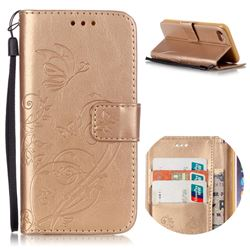 Embossing Butterfly Flower Leather Wallet Case for iPhone 8 / 7 8G 7G (4.7 inch) - Champagne