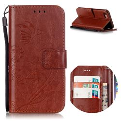 Embossing Butterfly Flower Leather Wallet Case for iPhone 8 / 7 8G 7G (4.7 inch) - Brown