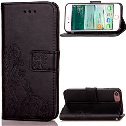 Embossing Imprint Four-Leaf Clover Leather Wallet Case for iPhone 8 / 7 8G 7G (4.7 inch) - Black