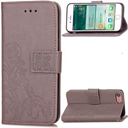 Embossing Imprint Four-Leaf Clover Leather Wallet Case for iPhone 8 / 7 8G 7G (4.7 inch) - Gray