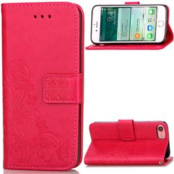 Embossing Imprint Four-Leaf Clover Leather Wallet Case for iPhone 8 / 7 8G 7G (4.7 inch) - Rose