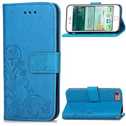 Embossing Imprint Four-Leaf Clover Leather Wallet Case for iPhone 8 / 7 8G 7G (4.7 inch) - Blue