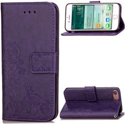 Embossing Imprint Four-Leaf Clover Leather Wallet Case for iPhone 8 / 7 8G 7G (4.7 inch) - Purple