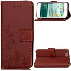 Embossing Imprint Four-Leaf Clover Leather Wallet Case for iPhone 8 / 7 8G 7G (4.7 inch) - Brown