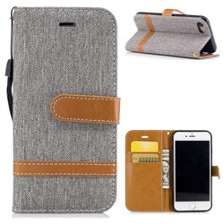 Jeans Cowboy Denim Leather Wallet Case for iPhone 8 / 7 8G 7G(4.7 inch) - Gray