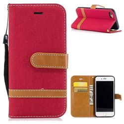 Jeans Cowboy Denim Leather Wallet Case for iPhone 8 / 7 8G 7G(4.7 inch) - Red