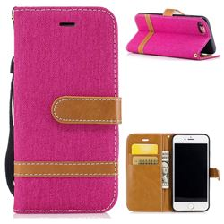 Jeans Cowboy Denim Leather Wallet Case for iPhone 8 / 7 8G 7G(4.7 inch) - Rose