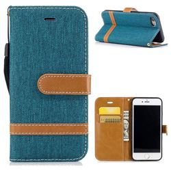 Jeans Cowboy Denim Leather Wallet Case for iPhone 8 / 7 8G 7G(4.7 inch) - Green