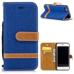 Jeans Cowboy Denim Leather Wallet Case for iPhone 8 / 7 8G 7G(4.7 inch) - Sapphire
