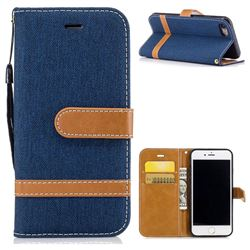 Jeans Cowboy Denim Leather Wallet Case for iPhone 8 / 7 8G 7G(4.7 inch) - Dark Blue