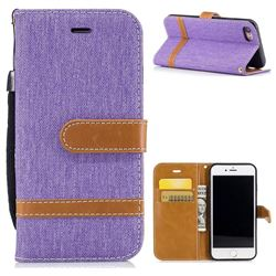 Jeans Cowboy Denim Leather Wallet Case for iPhone 8 / 7 8G 7G(4.7 inch) - Purple