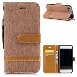 Jeans Cowboy Denim Leather Wallet Case for iPhone 8 / 7 8G 7G(4.7 inch) - Brown